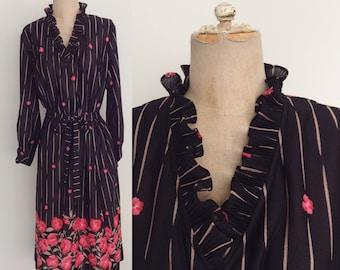 1980's Black Pink Floral Polyester Belted Shift Dress
