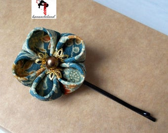 Japanese flower Tsumami kanzashi for hair, Japanese fabric blue and ochre shades.