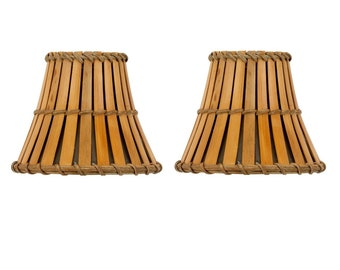 Upgrade Lights Set of 2 Bamboo Style 5 Inch Chandelier Lamp Shade