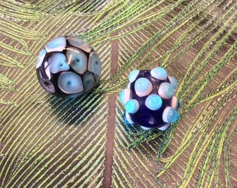 2 Handmade Art Glass Beads