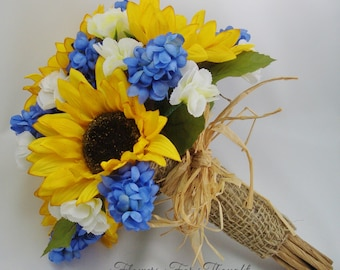 Sunflower Bouquet with blue Hyacinth, rustic wedding flowers, Straw and burlap accents