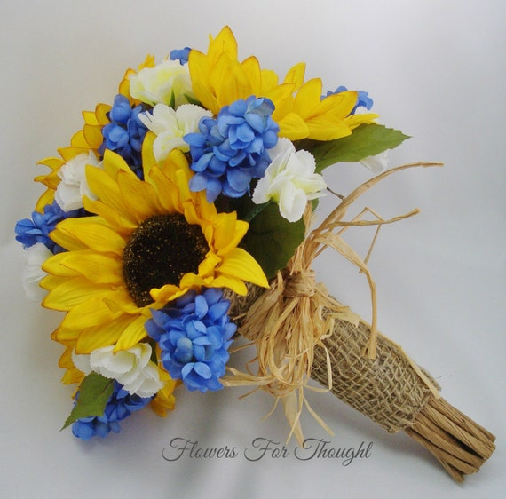 Sunflower Bouquet with blue Hyacinth rustic wedding flowers