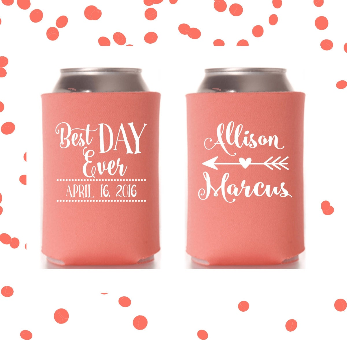 Wedding Can Coolers | Best Day Ever | Personalized Wedding Favor ...