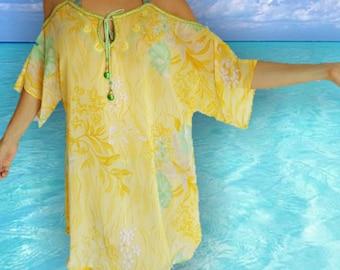Boho Coverup, Beach Coverup, Kaftan, beach cover up, caftan, handmade,resort wear,swimsuit coverup, Beach coverups, tunic, yellow coverup