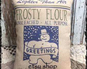 Handmade Primitive Snowman Flour Feedsack Style Pillow or Panel #53