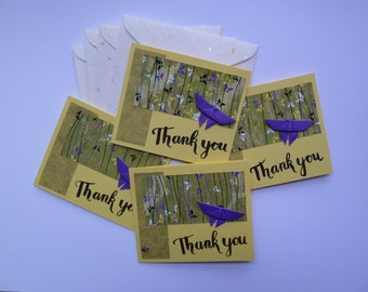 Set of 4 Thank You Cards, Small Card Set, Thank You, Four Cards, Note Cards, Origami Butterfly Cards, Gift for Stationery Lovers
