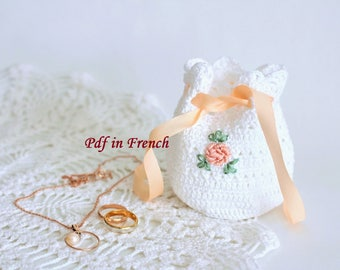 DIY Crochet pattern PDF in French pattern Crochet bag pattern Crochet Jewelry bag pattern Crochet knitting pattern Crochet gift for mother