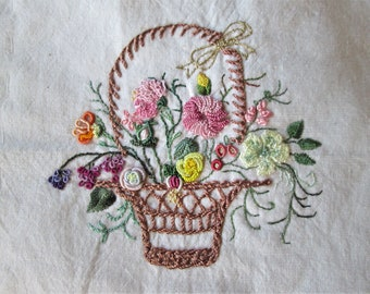 1950s Hand Sewn Quilt Block Delicate Embroidery Basket of Flowers