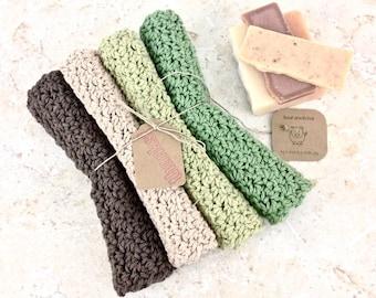 Four Crochet Dishcloths Earthy Tones Brown Dishcloth Beige Washcloth Sage Green Dish Cloth Knit Cotton Dishcloth Set Neutrals Custom Colors