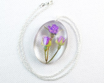Real Roses Jewelry, Dried Roses Jewelry, Oval Rose Necklaces, Oval Rose Jewelry, Oval Resin Necklace, Oval Resin Jewelry, Dried Resin Flower