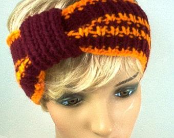 Hand Knit Ear Warmer Headband Virginia  - Maroon and Orange
