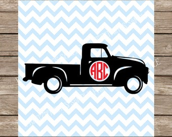 Circle Monogram Svg Truck Pickup Design