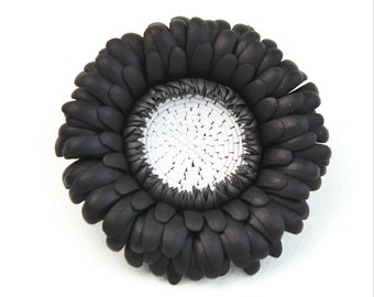 Black leather brooch, leather flower brooch, leather gift for women, gift for Mum, gerbera corsage, black and white leather jewellery