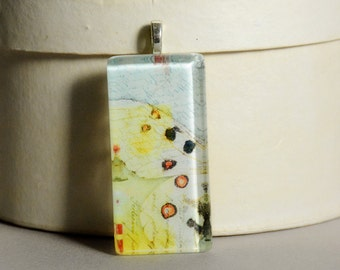 5 Dollar Deal - 5 and Under - Vintage Wings Glass Tile Pendant #2 - Butterfly Wings - Moth Wings