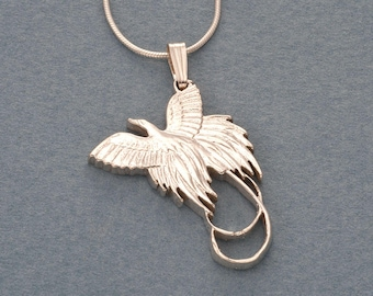 Birds of paradise etsy sterling silver bird of paradise pendant and necklace hand cut new zealand bird of paradise aloadofball Images