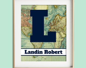 Boys Wall Art Baby Boy Nursery Decor Boy Travel Adventure Nursery Theme Navy Blue Nursery Decor Personalized Nursery, Map Letter Art