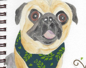 "Pug Print - Sketchbook Series - Watercolor & Collage - ""Pizzazz"""