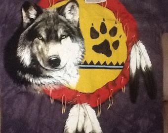 Hand Dyed, Organic Cotton Wolf Tee Shirt