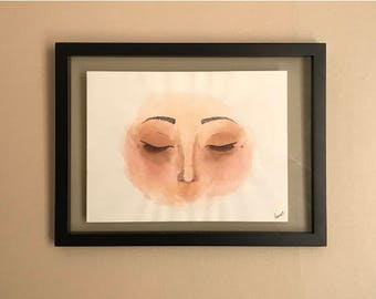 Hand Painted Wall Art - Closed Eyes