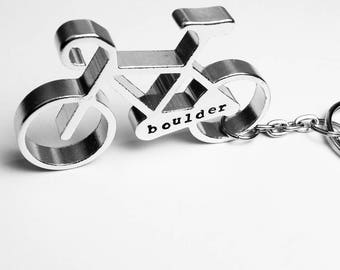 Bicycle Keychain - Aluminum Bottle Opener Keychain - Boulder Colorado Gift for Cyclist, Bike Rider