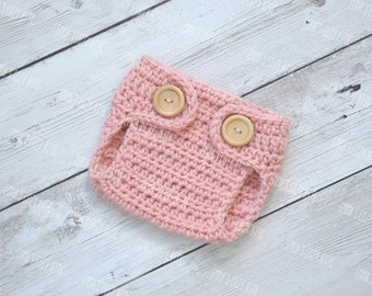 Newborn diaper cover, baby diaper cover, newborn photo prop - PINK