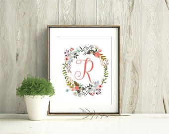 Customized Initial in Floral Wreath