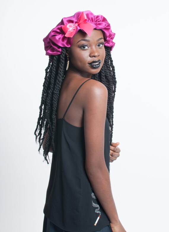 Pink Silk Sleep Bonnet For Dreadlocks Braids Twists