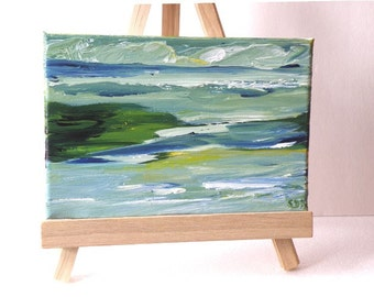 """Original landscape, Tide Pools, acrylic painting with easel, 5"""" x 7"""", green, yellow, cobalt, teal, blue, home decor, gift 25"""