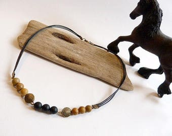 Necklace man Jasper wood, sand stone and black spirit country.