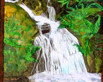Waterfall Emerald.Nature. Water. Pebbles. Elan Valley