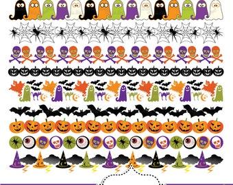 halloween borders silhouettes clipart black halloween bunting rh etsy com halloween border frame clipart halloween border frame clipart