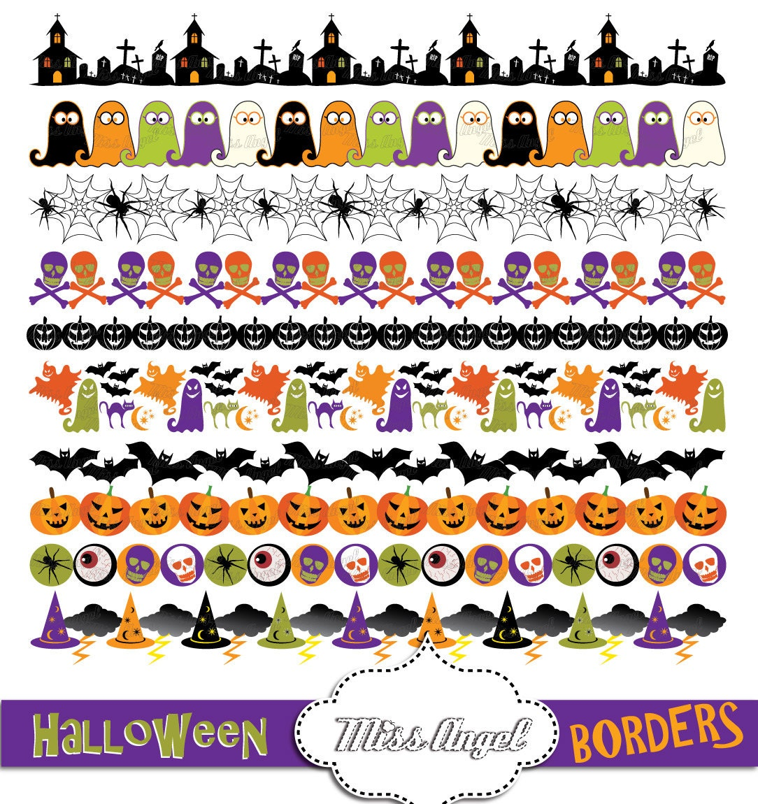 Cute Halloween Borders Clipart Halloween digital ribbons