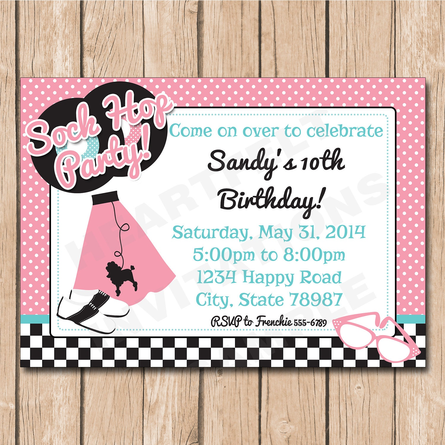Sock Hop Birthday Invitation 50\'s Retro Poodle Skirt