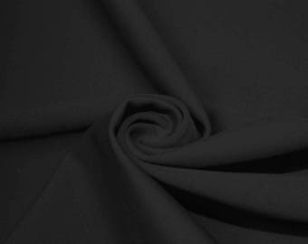 Jet Black Swimwear Fabric, Nylon Spandex Matte Tricot  4 Way Stretch