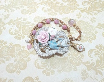 Pink with White brass bracelet, ceramic flowers, luggage tag, bird