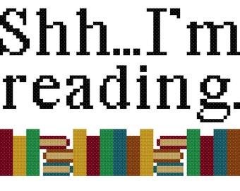 Shh...I'm Reading cross stitch pattern instant download