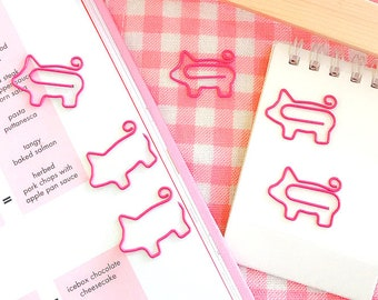 Set of 4 pink pigs paperclips   planner clips   pig paper clips   piggies   bookmarks