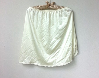 Off White Ivory Satin and Lace Vintage Nylon Half Slip, Knee Length with Side Slit, A line skirt, Lingerie Lining, Underpinnings, Boudoir