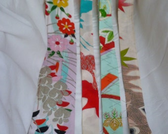 Assorted Antique / Vintage Japanese Kimono Fabric 100g - long strip02