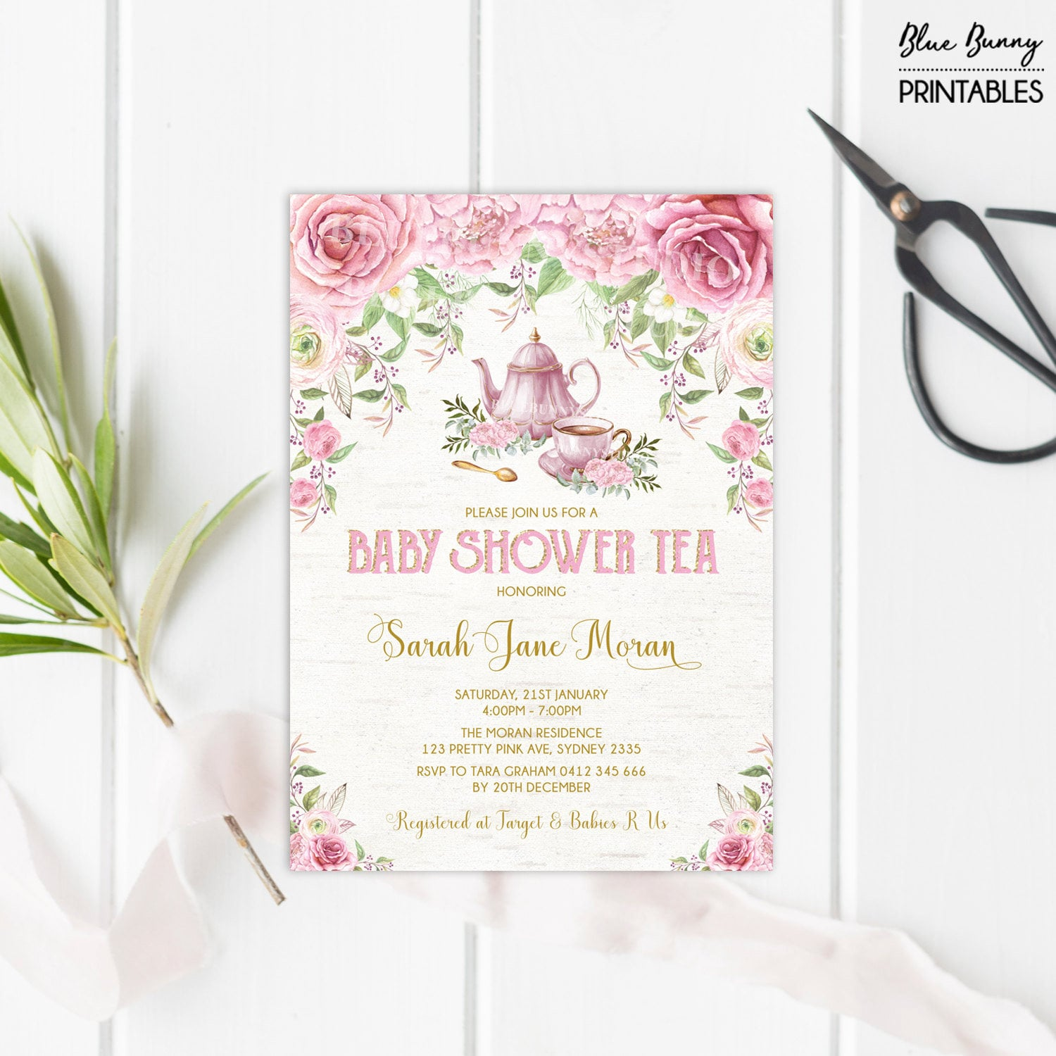 Baby Shower Tea Party Invitation. Pink Gold Floral Invite.
