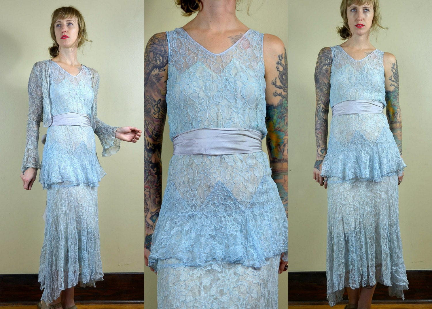 1920s Powder Blue Lace Dress with Bell Sleeve Jacket and