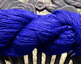 275 Yards - 100% Mulberry Silk Single Ply Yarn - Intense Iris - 3.2 ounces - Sport weight - Knit, Crochet, Weave