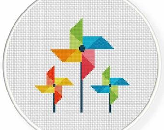 Color Pinwheel PDF Cross Stitch Pattern Needlecraft - Instant Download - Modern Chart