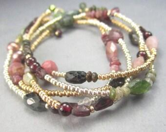 Long Gold Gemstone Necklace Boho Beaded Wrap Bracelet Tourmaline October Birthstone