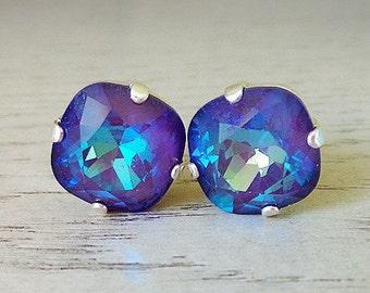 Ultra Purple Studs, Swarovski Crystal, Purple Stud Earrings, Big Studs, Purple Blue, Bridesmaid Earrings, Bright Purple, Purple Jewelry