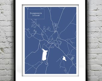 Dungannon Ireland Blueprint Map Portrait Poster Art Print Item T1305