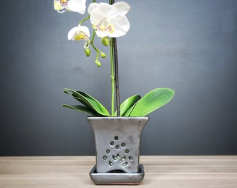 "Mauna Loa 2018 Edition (LARGE 11.0"") Handmade Ceramic Square Orchid Pot With Attached Saucer, Glazed Pottery, Glazed Pottery, Orchid Planter"