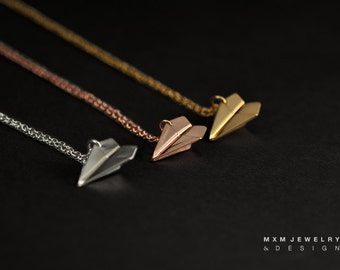 Large / The Original Handfolded Paper Airplane Necklace / Gold