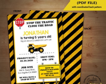 Construction Birthday Invitation stop the road under construction party invite Instant Download YOU EDIT TEXT and print yourself invite 5563