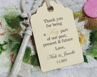 "Personalized Favor Tags 2.5""L x1.8""w, Wedding tags, Thank You tags, Bridal Shower Favor Tags, skeleton key, key of happiness, key part"